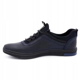 Polbut Men's casual leather shoes K24 dark navy blue 1