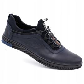 Polbut Men's casual leather shoes K24 dark navy blue 2