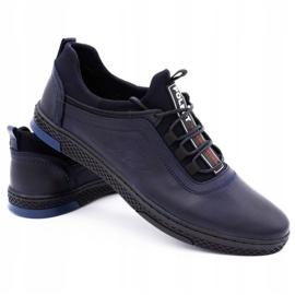 Polbut Men's casual leather shoes K24 dark navy blue 5