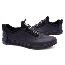 Polbut Men's casual leather shoes K24 dark navy blue 6