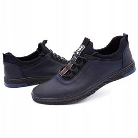 Polbut Men's casual leather shoes K24 dark navy blue 7