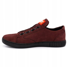 Polbut Men's leather shoes 2106 burgundy red multicolored 1