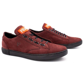 Polbut Men's leather shoes 2106 burgundy red multicolored 2