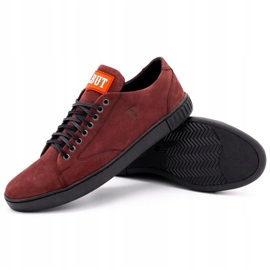 Polbut Men's leather shoes 2106 burgundy red multicolored 3