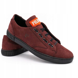 Polbut Men's leather shoes 2106 burgundy red multicolored 4