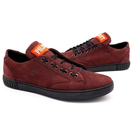 Polbut Men's leather shoes 2106 burgundy red multicolored 5