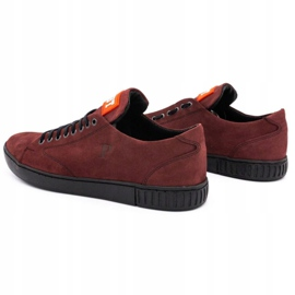 Polbut Men's leather shoes 2106 burgundy red multicolored 7
