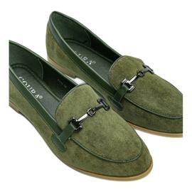 Green eco-suede Juliette loafers 1