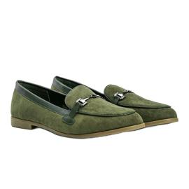 Green eco-suede Juliette loafers 2