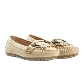 Beige eco-suede loafers from Maia 1