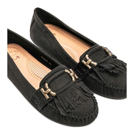 Black eco-suede loafers from Maia 1