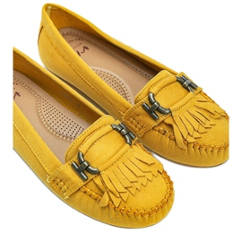Yellow eco-suede loafers from Maia 2