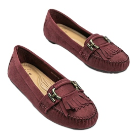 Maroon eco-suede loafers from Maia red 1