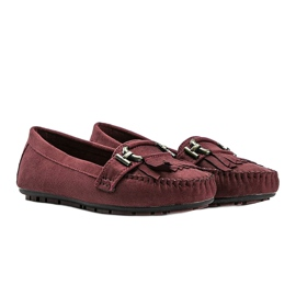 Maroon eco-suede loafers from Maia red 2