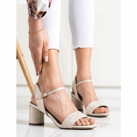 Evento Stylish sandals on a post beige golden 2