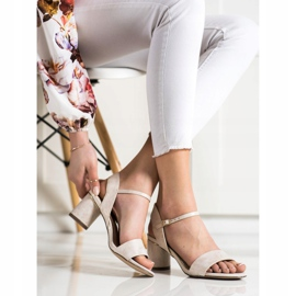 Evento Stylish sandals on a post beige golden 1