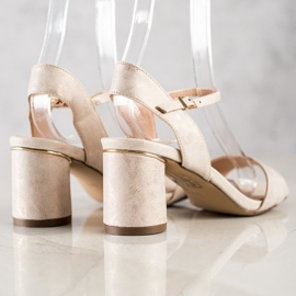 Evento Stylish sandals on a post beige golden 3