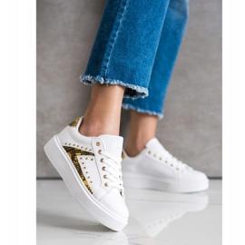 SHELOVET White Sneakers On Platform black yellow 1