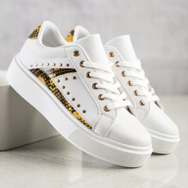 SHELOVET White Sneakers On Platform black yellow 3