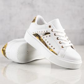SHELOVET White Sneakers On Platform black yellow 4