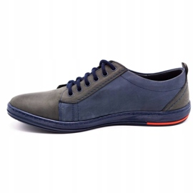 Olivier Men's leather shoes 695MP navy blue red grey 1