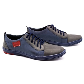 Olivier Men's leather shoes 695MP navy blue red grey 2