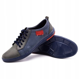 Olivier Men's leather shoes 695MP navy blue red grey 3