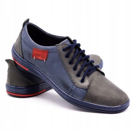 Olivier Men's leather shoes 695MP navy blue red grey 4