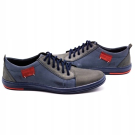 Olivier Men's leather shoes 695MP navy blue red grey 5