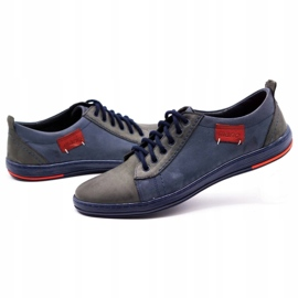 Olivier Men's leather shoes 695MP navy blue red grey 6