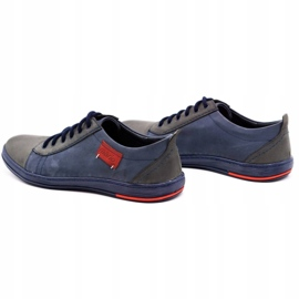 Olivier Men's leather shoes 695MP navy blue red grey 7