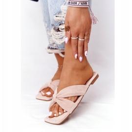 PS1 Women's Pink Velor Slippers Vanilla Sky beige 3