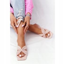 PS1 Women's Pink Velor Slippers Vanilla Sky beige 5