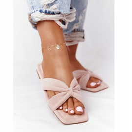PS1 Women's Pink Velor Slippers Vanilla Sky beige 2