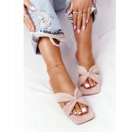 PS1 Women's Pink Velor Slippers Vanilla Sky beige 4