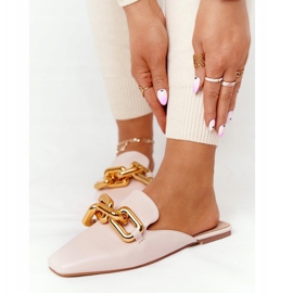 PS1 Beige Slippers With Uppers And Chain Beige Call On Me 4