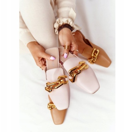PS1 Beige Slippers With Uppers And Chain Beige Call On Me 8