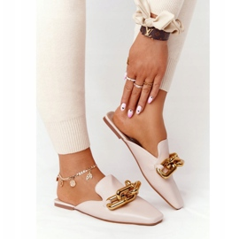 PS1 Beige Slippers With Uppers And Chain Beige Call On Me 6