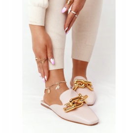 PS1 Beige Slippers With Uppers And Chain Beige Call On Me 5