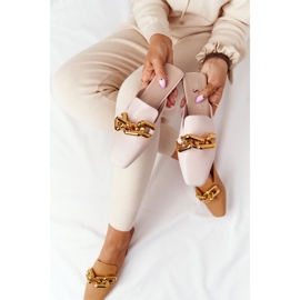 PS1 Beige Slippers With Uppers And Chain Beige Call On Me 3