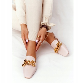 PS1 Beige Slippers With Uppers And Chain Beige Call On Me 7