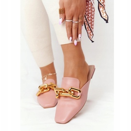 PS1 Pink Call On Me Slippers With Uppers And Chain golden 2