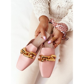 PS1 Pink Call On Me Slippers With Uppers And Chain golden 1