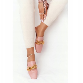 PS1 Pink Call On Me Slippers With Uppers And Chain golden 3