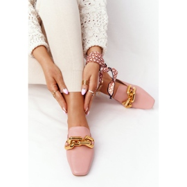 PS1 Pink Call On Me Slippers With Uppers And Chain golden 5