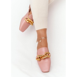 PS1 Pink Call On Me Slippers With Uppers And Chain golden 4
