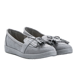 Magdalena gray loafers with fringes grey 1