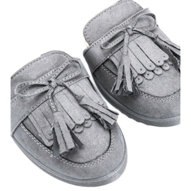 Magdalena gray loafers with fringes grey 2