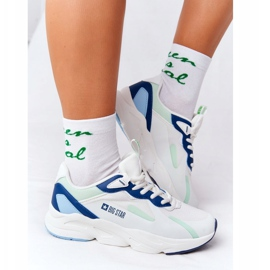 Women's Sport Shoes Memory Foam Big Star HH274810 White-Green blue 2