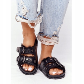 PS1 Slippers With Buckles And Fur Black Lydia 3